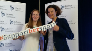 Mary White with former Irish olympic runner and world champion Sonia O'Sullivan at the Liberty Insurance Women in Sport event at Croke Park.